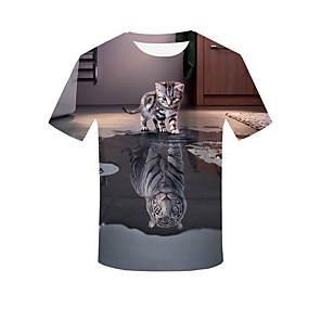 cheap Smartwatch Bands-Men's Plus Size 3D Graphic T-shirt Basic Street chic Daily Going out Round Neck Khaki / Short Sleeve / Animal