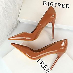 cheap Women's Heels-Women's Heels Stiletto Heel Pointed Toe PU Spring & Summer Black / Brown / Camel