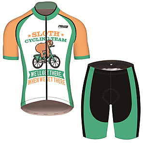 cheap Cycling Jersey & Shorts / Pants Sets-21Grams Men's Short Sleeve Cycling Jersey with Shorts Green / Yellow Animal Sloth Bike Clothing Suit UV Resistant Breathable 3D Pad Quick Dry Sweat-wicking Sports Animal Mountain Bike MTB Road Bike