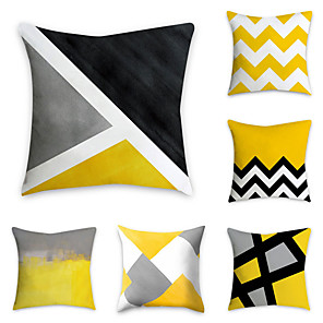 cheap Cushion Covers-Set of 6 Polyester Pillow Cover, Geometric Pattern Graphic Prints Simple Classic Square Traditional Classic Throw Pillow