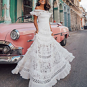 cheap Women's Sandals-Women's A-Line Dress Maxi long Dress - Short Sleeve Solid Color Ruffle Spring & Summer Off Shoulder Holiday Vacation Beach Lace White S M L XL
