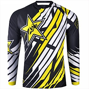 cheap Cycling Jerseys-CAWANFLY Men's Long Sleeve Cycling Jersey Downhill Jersey Dirt Bike Jersey Winter Polyester Black Stripes Geometic Novelty Bike Jersey Top Mountain Bike MTB Breathable Quick Dry Sweat-wicking Sports