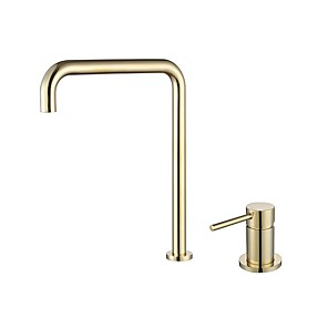 cheap Bathroom Sink Faucets-Bathroom Sink Faucet - Black / Chrome / Brushed Gold / Rose Gold Finish Single Handle Dual Holes Basin Sink Mixer Tap Washroom Faucet Modern Luxury