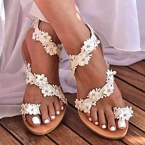cheap Women's Sandals-Women's Sandals Boho / Beach Flat Sandals Summer Flat Heel Round Toe Boho Daily Beach PU White