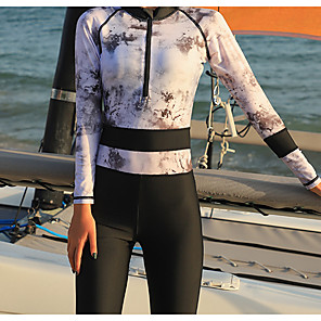 cheap Wetsuits, Diving Suits & Rash Guard Shirts-Women's Rash Guard Dive Skin Suit Diving Suit UV Sun Protection Anatomic Design Full Body Front Zip 3-Piece - Diving Water Sports Painting Summer / Micro-elastic