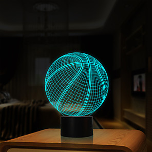 cheap 3D Night Lights-3D Optical Illusion Night Light 7 LED Color Changing Lamp Cool Soft Light Safe For Kids Solution Nightmares Basketball Sport for Child Friends
