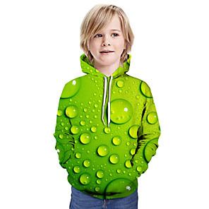 cheap Dog Clothes-Kids Boys' Active Street chic 3D Patchwork Print Long Sleeve Hoodie & Sweatshirt Rainbow