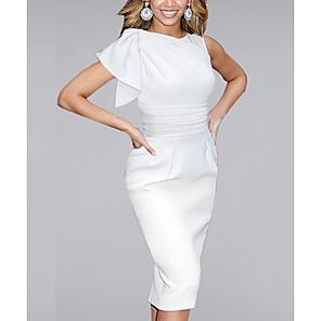 cheap Women's Sandals-Women's Shift Dress Knee Length Dress - Sleeveless Ruffle Spring Summer Elegant Sophisticated Event / Party Office White Black Blue Red S M L XL XXL XXXL