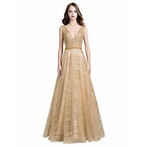 cheap Prom Dresses-A-Line Luxurious Gold Prom Formal Evening Dress V Neck Sleeveless Floor Length Tulle with Beading Appliques 2020