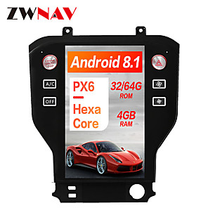 cheap Car DVD Players-ZWNAV 11.8 inch 1DIN PX6 4GB 64GB Tesla style Android 8.1 Car GPS Navigation In-Dash Car DVD Player Car multimedia player For Ford Mustang 2015