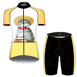 cheap Cycling Jersey & Shorts / Pants Sets-21Grams Women's Short Sleeve Cycling Jersey with Shorts Orange+White Cat Patchwork Animal Bike Clothing Suit Breathable 3D Pad Quick Dry Ultraviolet Resistant Sweat-wicking Sports Cat Mountain Bike