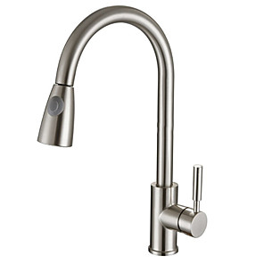 cheap Kitchen Faucets-Kitchen faucet - Single Handle One Hole Electroplated Pull-out / ­Pull-down Centerset Contemporary Kitchen Taps