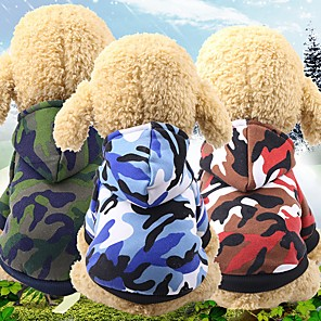 cheap Dog Clothes-Dog Cat Hoodie Winter Dog Clothes Red Green Blue Costume Husky Corgi Beagle Cotton Camouflage Casual / Daily Simple Style XS S M L XL XXL