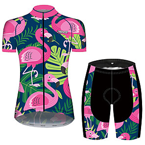 cheap Cycling Jersey & Shorts / Pants Sets-21Grams Women's Short Sleeve Cycling Jersey with Shorts Spandex Polyester Pink+Green Flamingo Animal Floral Botanical Bike Clothing Suit Breathable 3D Pad Quick Dry Ultraviolet Resistant Sweat-wicking