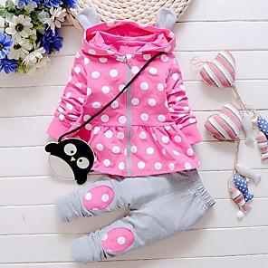 cheap Kids Collection Under $8.99-Baby Girls' Street chic Polka Dot Long Sleeve Regular Clothing Set Purple / Toddler