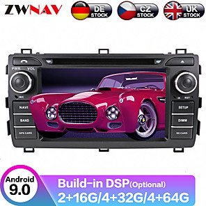 cheap Bluetooth Car Kit/Hands-free-ZWNAV 7inch 2din 4GB 64GB DSP Android 9 Car DVD player Car GPS navigation Auto Satnav Car Multimedia Player recoder Stereo For Toyota Auris 2013-2015