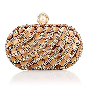 cheap Clutches & Evening Bags-Women's Crystals / Chain Acrylic / Polyester Evening Bag Striped Gold / Silver / Blue