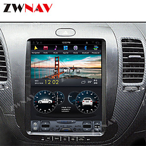 cheap Car DVD Players-ZWNAV 10.4inch 1din 4GB 64GB Android 8.1 Tesla style Car DVD Player GPS Navigation Car multimedia player Car MP5 Player recorder For KIA CERATO K3 FORTE 2013-2017