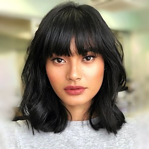 cheap Clip in Hair Extensions-Human Hair Glueless Lace Front Lace Front Wig Bob Free Part With Bangs Kardashian style Brazilian Hair Straight Brown Natural Black Wig 130% 150% 180% Density 8-20 inch Free Shipping with Baby Hair