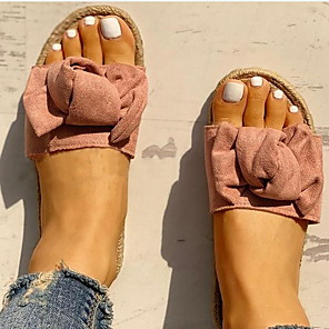 cheap Women's Sandals-Women's Slippers & Flip-Flops Flat Heel Open Toe Cotton Summer Yellow / Pink / Beige