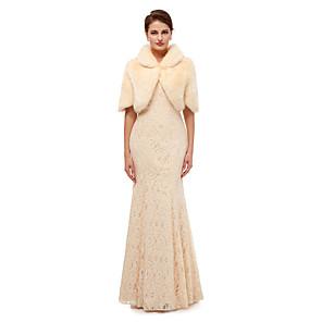 cheap Wedding Wraps-Half Sleeve Shawls Faux Fur Wedding Women's Wrap With Solid