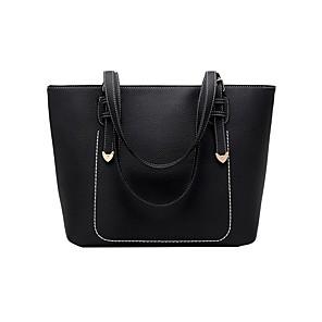 cheap Handbag & Totes-Women's Zipper PU Top Handle Bag Solid Color Black