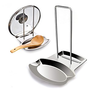 cheap Cleaning Protection-Stainless Steel Lid and Spoon Rest Utensils Lid Holder Spoon Holder Lid Rest Lid Shelf Kitchen Utensils Holders In Silver
