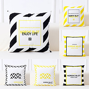 cheap Pillow Covers-6 pcs Polyester Pillow Cover, Art Deco Geometric Pattern Simple Classic Square Traditional Classic