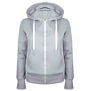 cheap Women's Boots-Women's Hoodie Solid Colored Basic Black Blue Red Light gray Dark Gray S M L XL