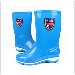 cheap Women's Boots-Women's Boots Flat Heel Round Toe PVC Mid-Calf Boots Spring & Summer / Fall & Winter Blue