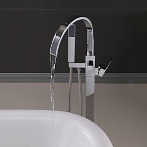 cheap Bathroom Sink Faucets-Handshower Included Contemporary Chrome Free Assemblement Ceramic Valve Bath Shower Mixer Taps-Shower System Set