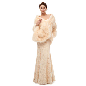 cheap Wedding Wraps-Sleeveless Shawls Faux Fur Wedding Women's Wrap With Solid