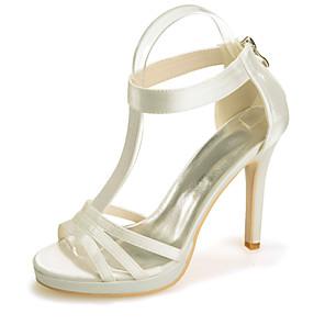 cheap Wedding Shoes-Women's Wedding Shoes Stiletto Heel Open Toe Rhinestone Satin Classic Spring & Summer Black / White / Purple / Party & Evening