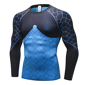 cheap Cycling Jerseys-Men's Graphic Slim Tunic Daily Round Neck Blue / Red / Green / Gray / Long Sleeve