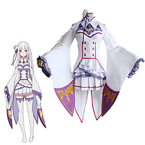 cheap Anime Costumes-Inspired by Re:Zero Starting Life in Another World kara hajimeru isekai seikatsu Emilia Anime Cosplay Costumes Japanese Cosplay Suits Top Dress Socks For Women's / Headwear
