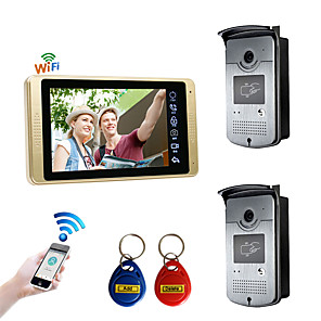 cheap Video Door Phone Systems-Wired & Wireless 7 inch Hands-free 1024*600 Pixel Two to One video doorphone