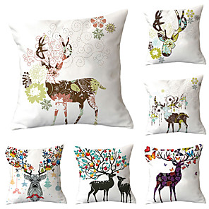 cheap Pillow Covers-6 pcs Polyester Pillow Cover, Cartoon Graphic Prints Cartoon Fashion Square Traditional Classic