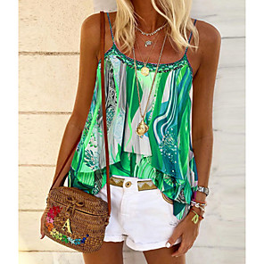 cheap Tools & Accessories-Women's Camisole Print Double Layered Tops Strap Blue Purple Green