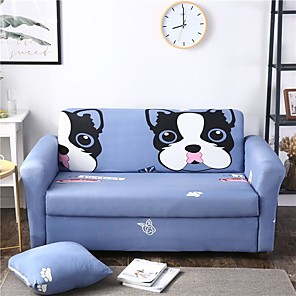 cheap Abstract Paintings-Cartoon Pet Dog Print Dustproof All-powerful Slipcovers Stretch Sofa Cover Super Soft Fabric Couch Cover with One Free Pillow Case