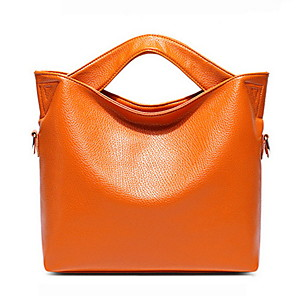 cheap Clutches & Evening Bags-Women's Zipper PU Top Handle Bag Solid Color Black / Brown / Orange