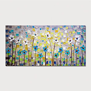 cheap Abstract Paintings-Hand Painted Canvas Oilpainting Abstract Flowers by Knife Home Decoration with Frame Painting Ready to Hang