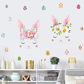 cheap Pillow Covers-Bunny Easter Wall Stickers Plane Wall Stickers Decorative Wall Stickers, PVC Home Decoration Wall Decal Wall Decoration 1pc