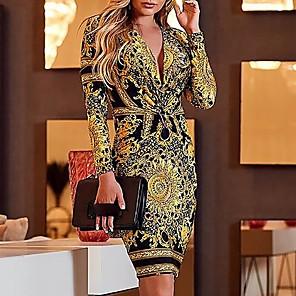 cheap Women's Heels-Women's Sheath Dress Short Mini Dress - Long Sleeve Geometric V Neck Elegant Slim Yellow S M L XL