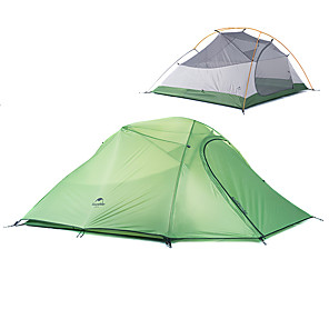 cheap Tents, Canopies & Shelters-Naturehike 3 person Backpacking Tent Outdoor Windproof Rain Waterproof Quick Dry Double Layered Poled Dome Camping Tent 2000-3000 mm for Oxford cloth Nylon 215*180*110 cm