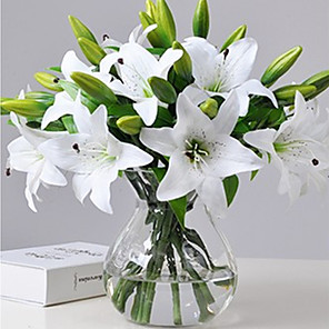cheap Artificial Plants-1pcs Artificial Lily Artificial Flower Home Living Room Decoration Display Flower