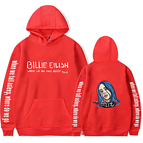 cheap Everyday Cosplay Anime Hoodies & T-Shirts-Inspired by Cosplay Billie Eilish Cosplay Costume Hoodie Pure Cotton Print Hoodie For Men's / Women's