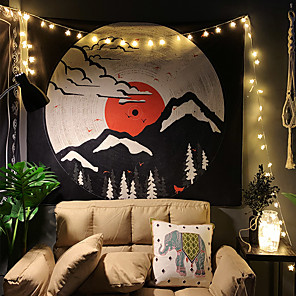 cheap Wall Tapestries-Japanese Painting Style Ukiyo-e Wall Tapestry Art Decor Blanket Curtain Hanging Home Bedroom Living Room Decoration Landscpe Mountain Sun Cloud