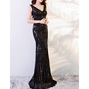 cheap Prom Dresses-Sheath / Column Sexy Black Engagement Formal Evening Dress V Neck Sleeveless Sweep / Brush Train Polyester with Sequin Appliques 2020
