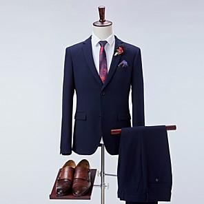 cheap Women's Heels-Men's Suits Notch Lapel Polyester Navy Blue