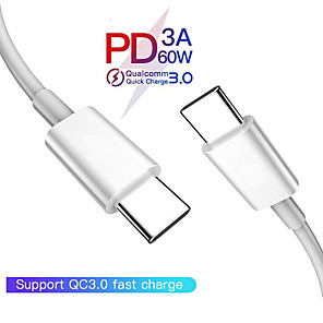 cheap Cell Phone Cables-USB C to USB C Type C Cable Male to male 3A PD Fast Charging Data Charger Cable for MacBook Pro for Samsung for Google